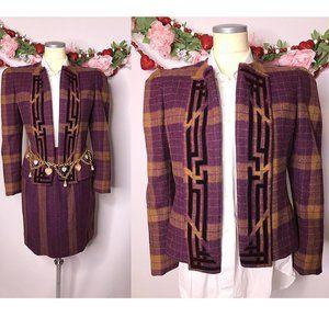 1980s Carolina Herrera Plaid Wool Skirt Suit
